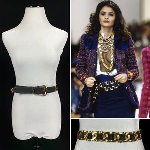 90's Couture Look Draped Chain Link Leather Belt